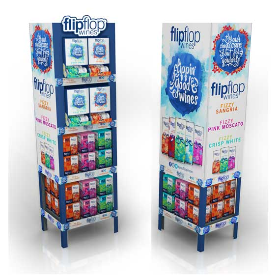 Semi-permanent display for flipflop wines: fizzy sangria, fizzy pink moscato, fizzy crisp white