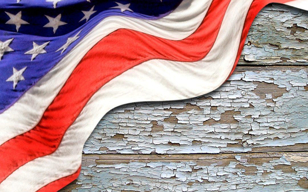 image of the USA flag over a wooden platform